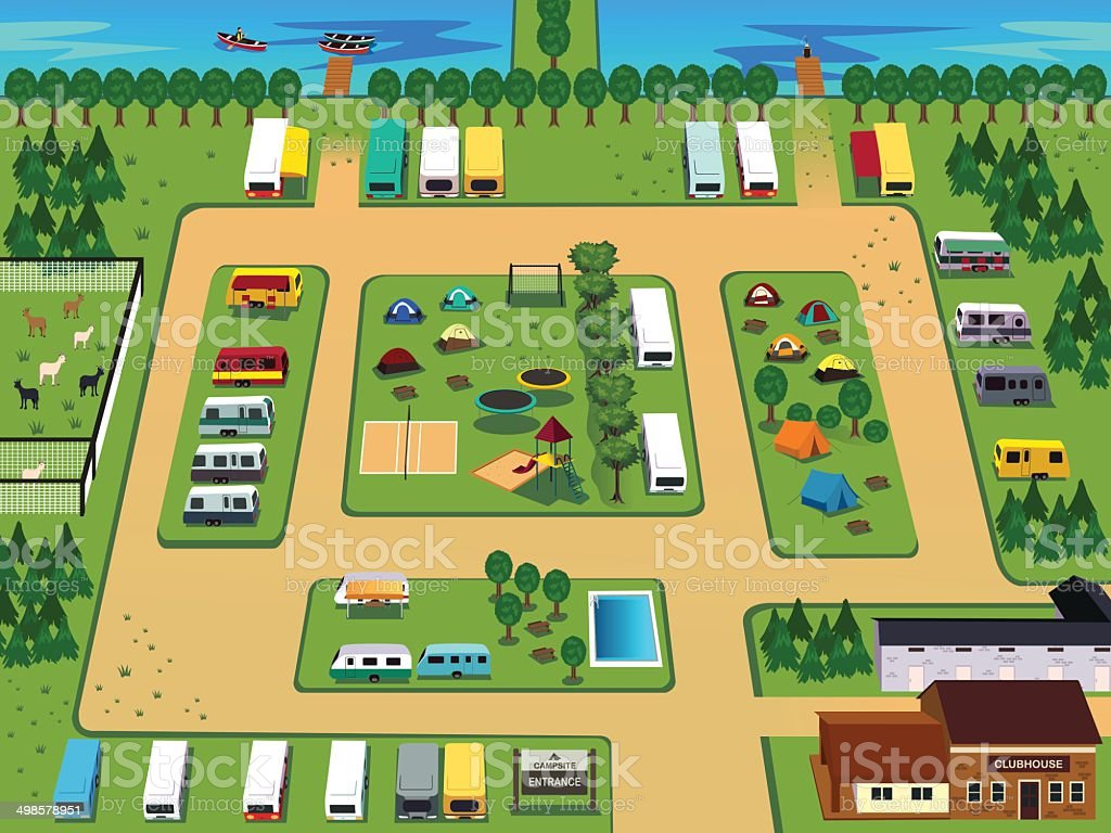 Campground map vector art illustration