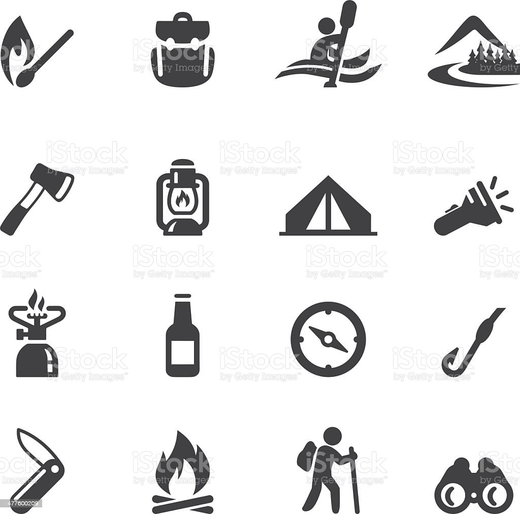 Camping Advanture Silhouette icons royalty-free stock vector art