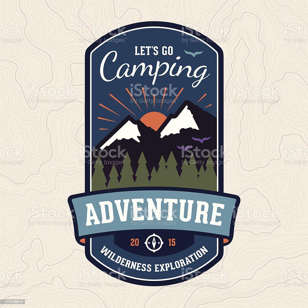 Camping adventure badge emblem vector art illustration