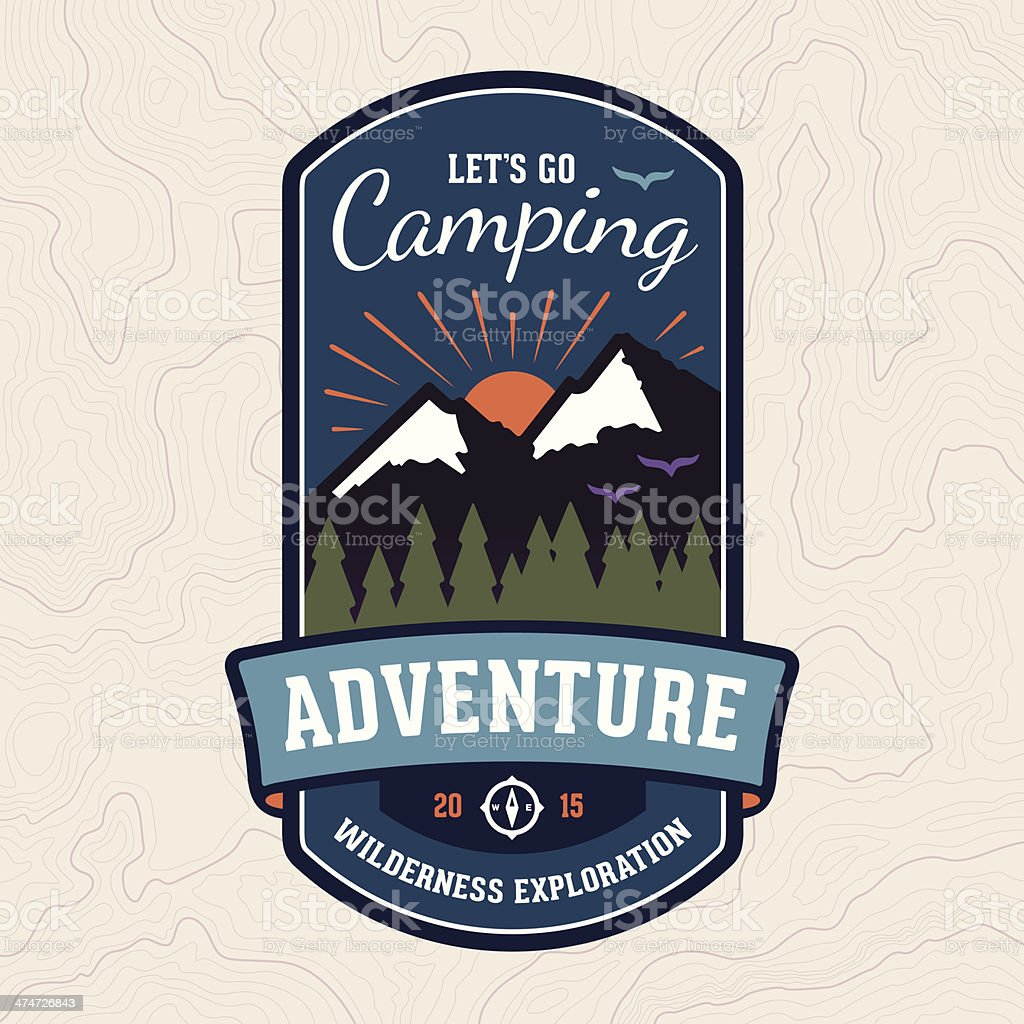 Camping adventure badge emblem vector art illustration