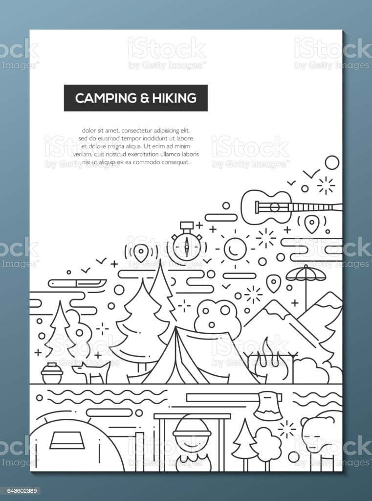 Camping and Hiking - line design brochure poster template A4 vector art illustration