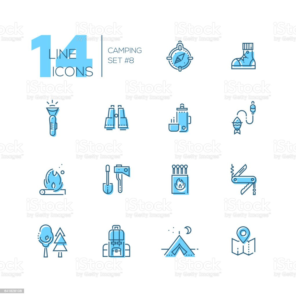 Camping and Hiking - line icons set vector art illustration