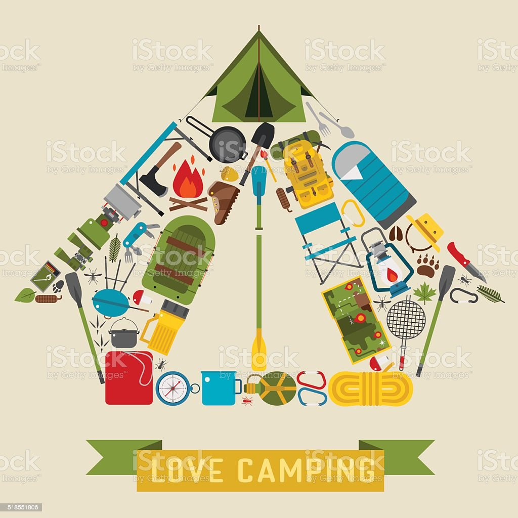 Camping and Hiking Tent Shape Concept vector art illustration