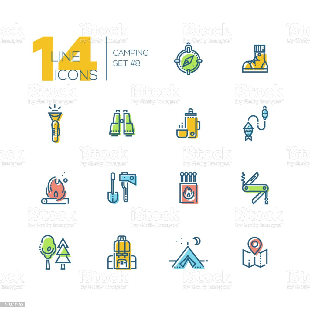 Camping and Hiking - thick line icons set vector art illustration