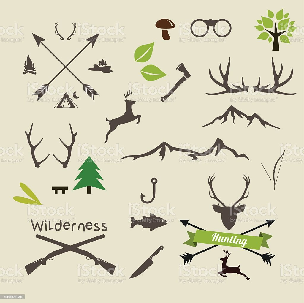 Camping and Hunting icon set vector illustration vector art illustration