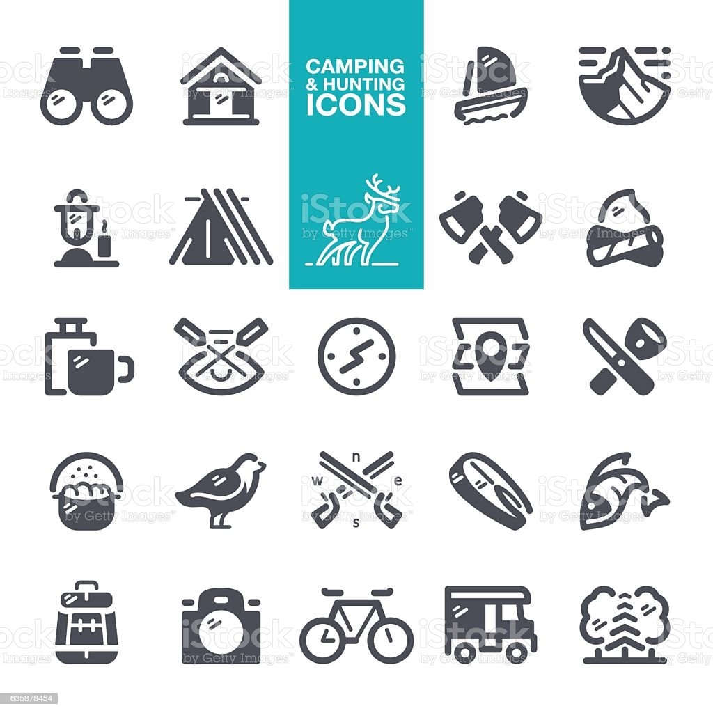 Camping and Hunting icons vector art illustration