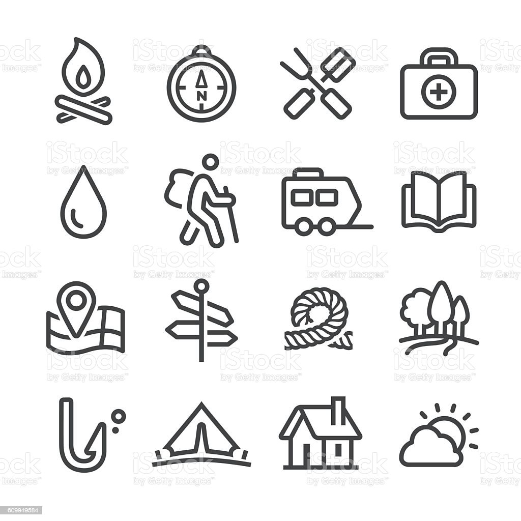 Camping and Outdoor Icons - Line Series vector art illustration