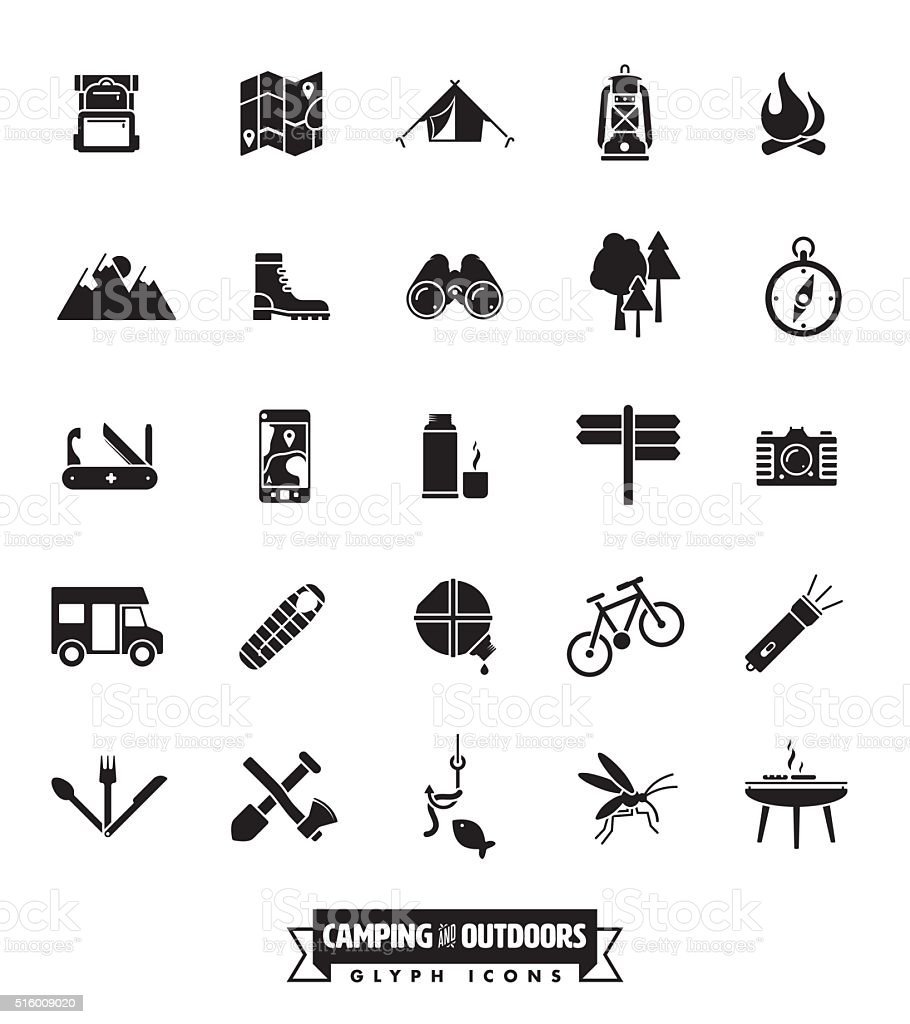 Camping and Outdoor Pursuits Icon Set vector art illustration
