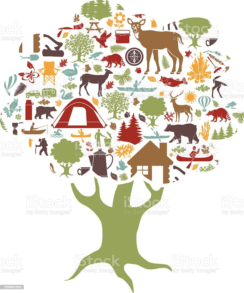camping and outdoor recreation colored icons tree shaped vector art illustration