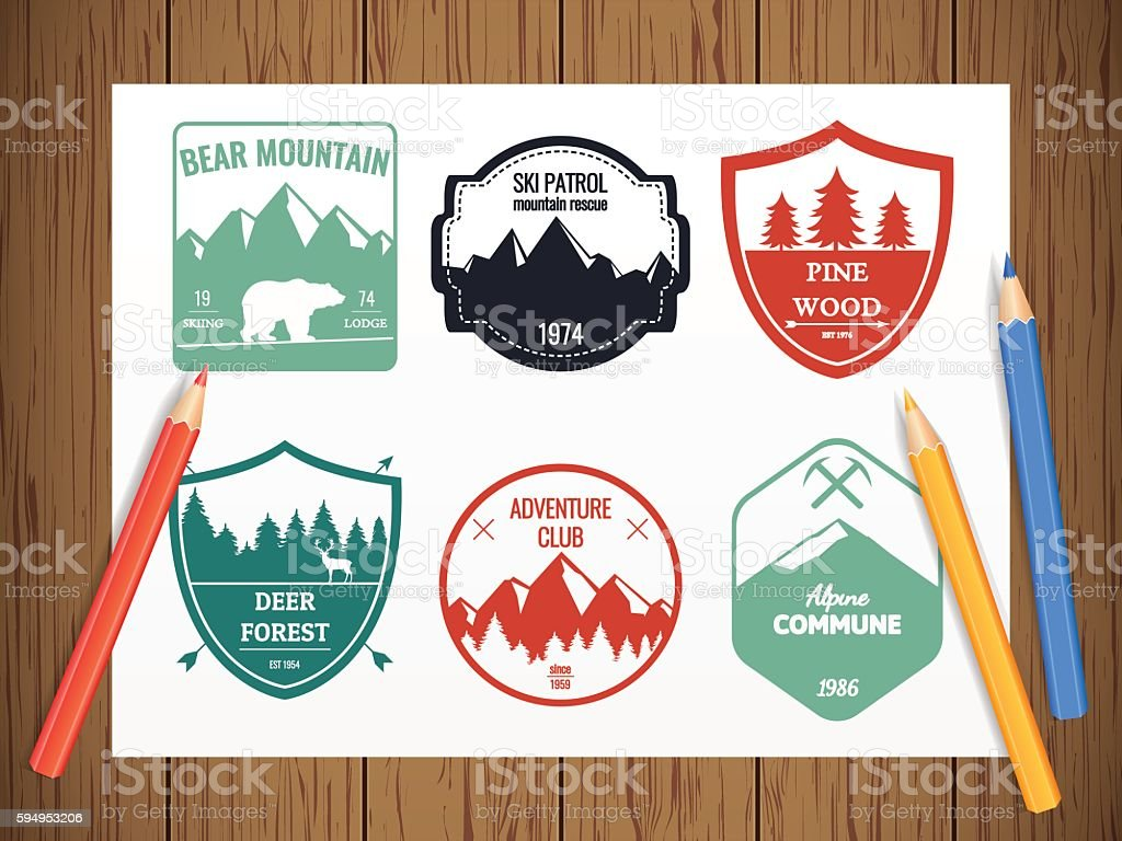 Camping and outdoors adventure vintage logos, emblems, badges set. royalty-free stock vector art