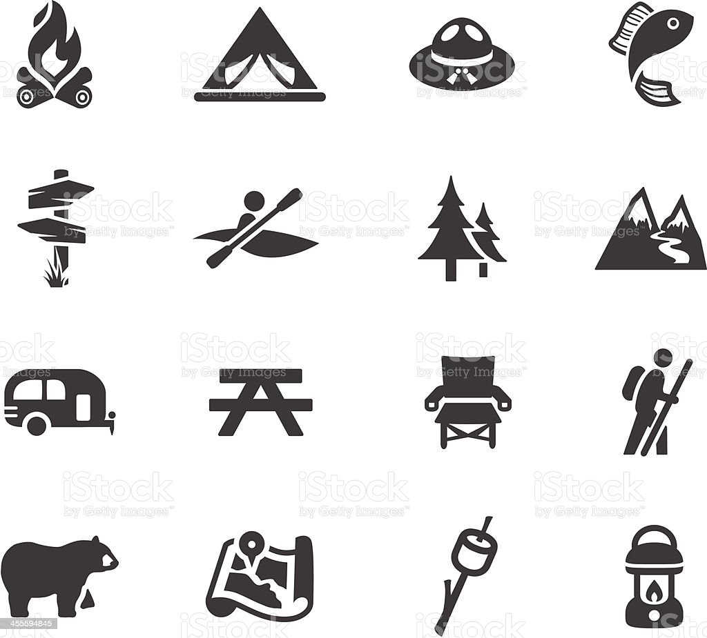 Camping and Outdoors Symbols vector art illustration