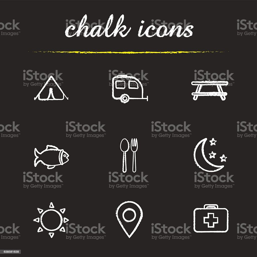 Camping and tourism icons vector art illustration