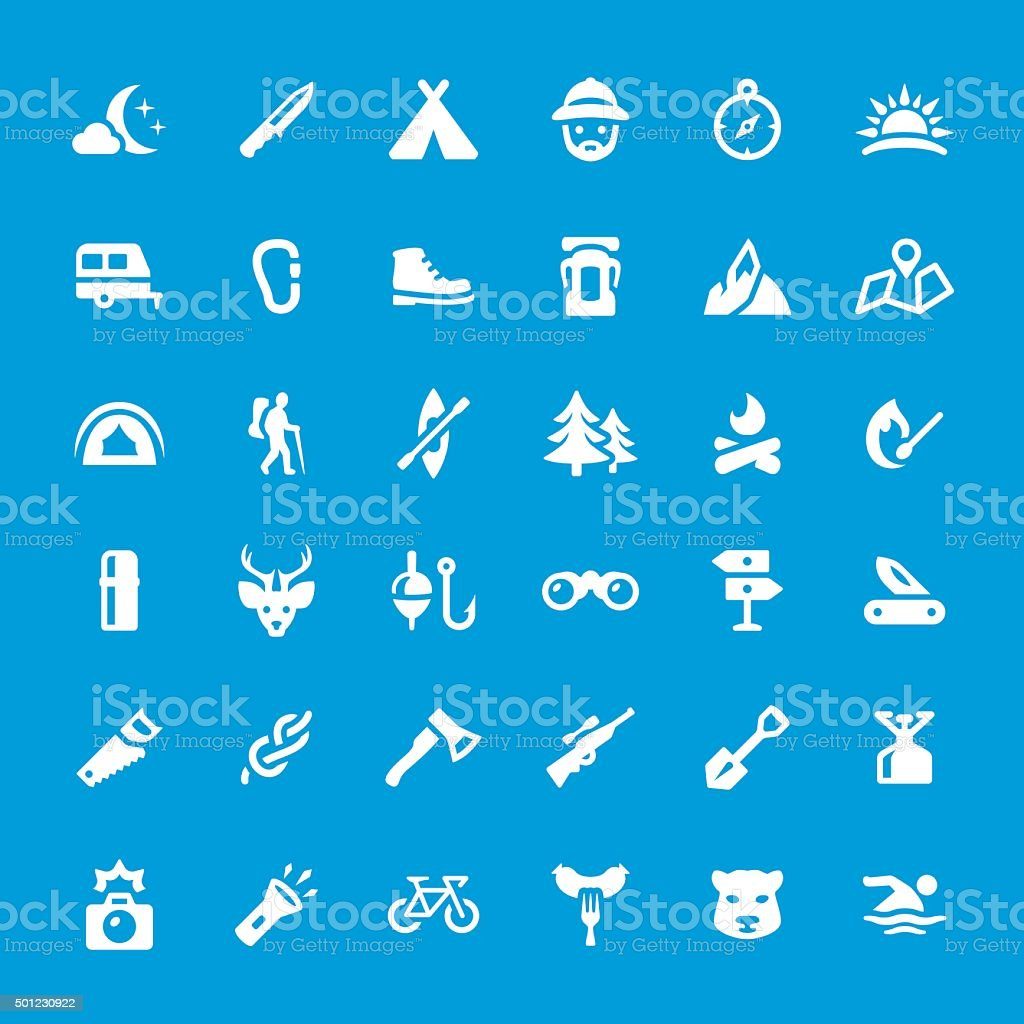 Camping and Traveling vector icons set vector art illustration