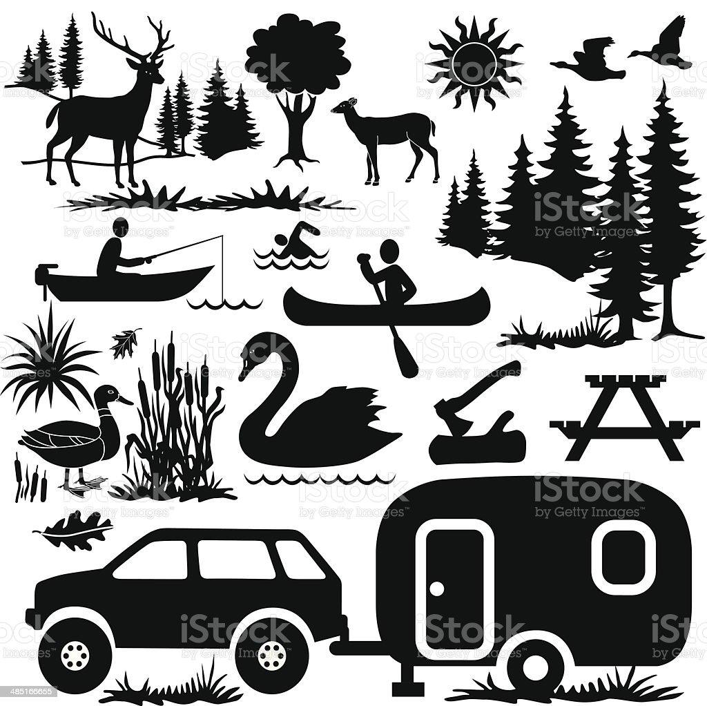 camping at the lake design elements vector art illustration