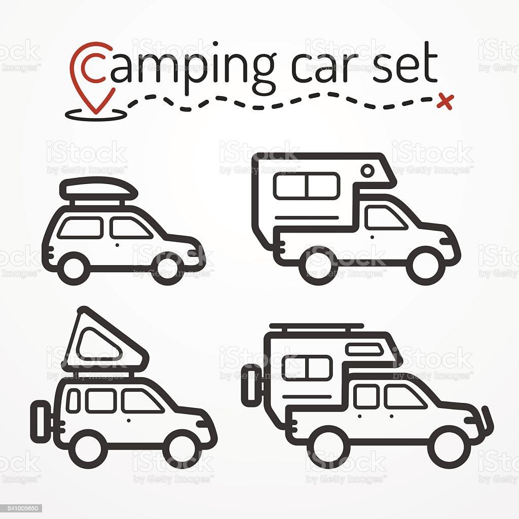 Camping car set vector art illustration