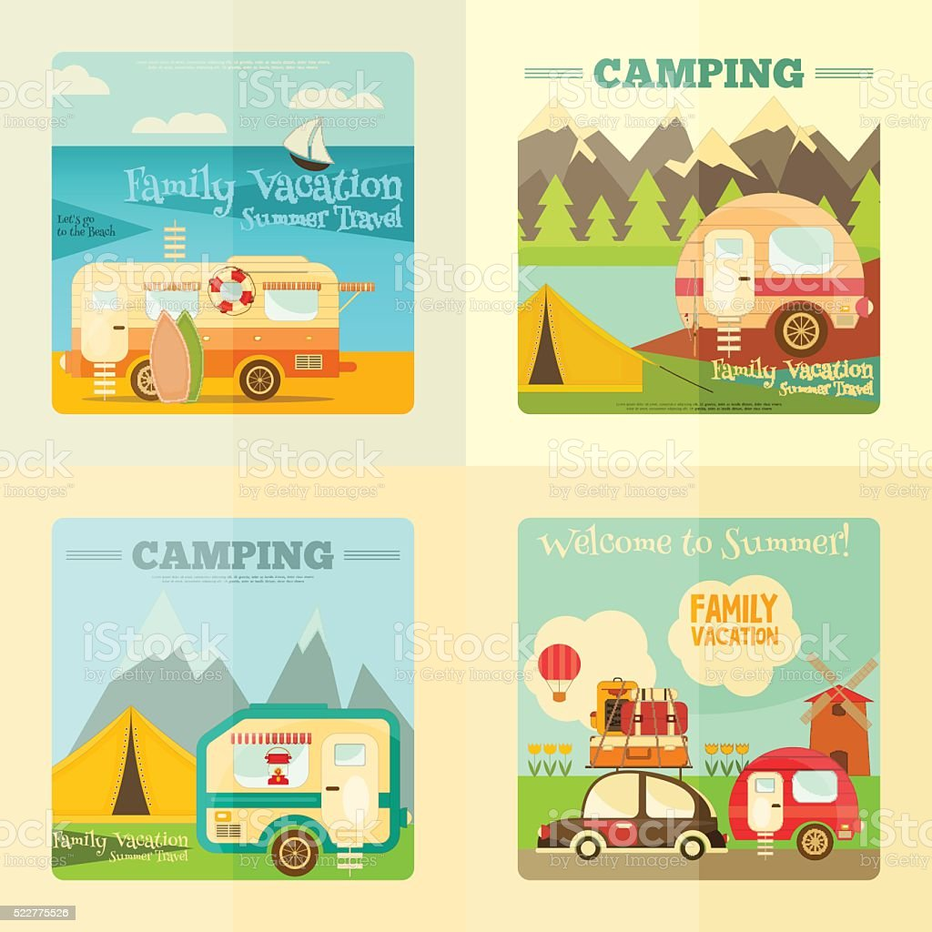 Camping Caravan Set vector art illustration