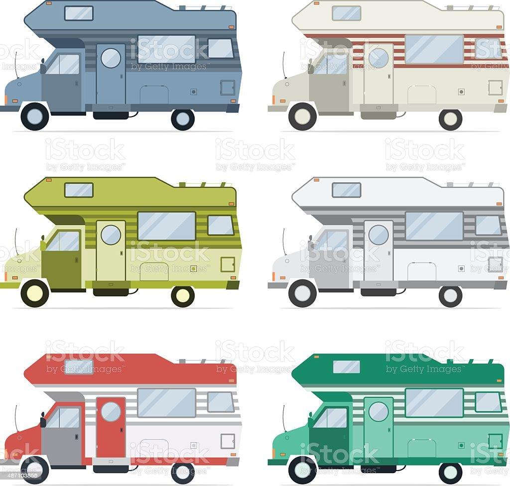 Camping Caravan Traveler Truck Collection vector art illustration
