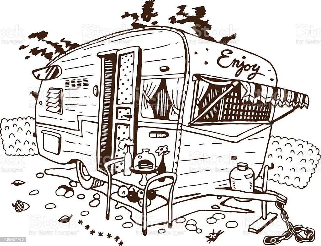 Camping Cars, Retro Style vector art illustration