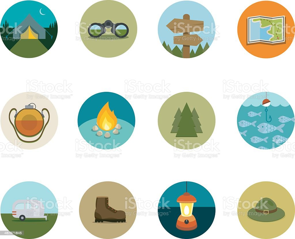 Camping Circle Icons vector art illustration