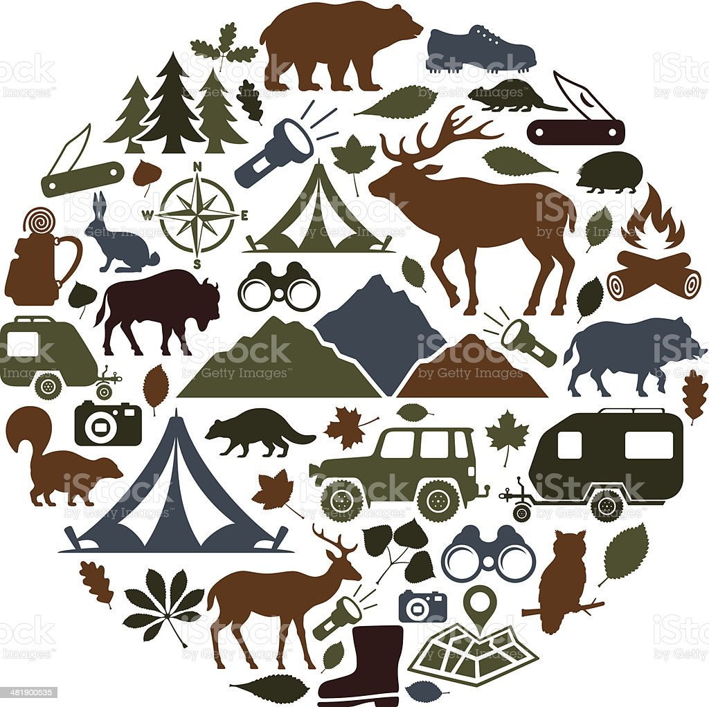 Camping Collage vector art illustration