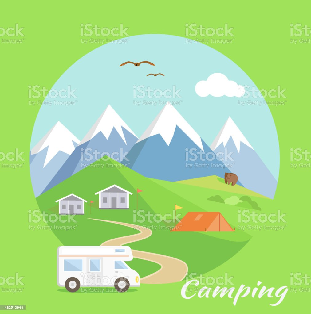Camping Concept vector art illustration