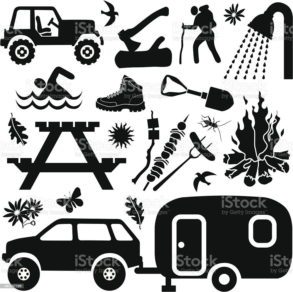 camping design elements vector art illustration