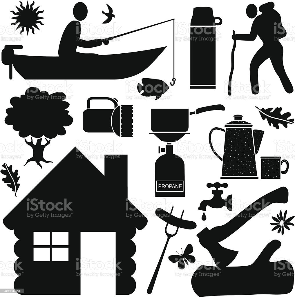 camping design elements royalty-free stock vector art