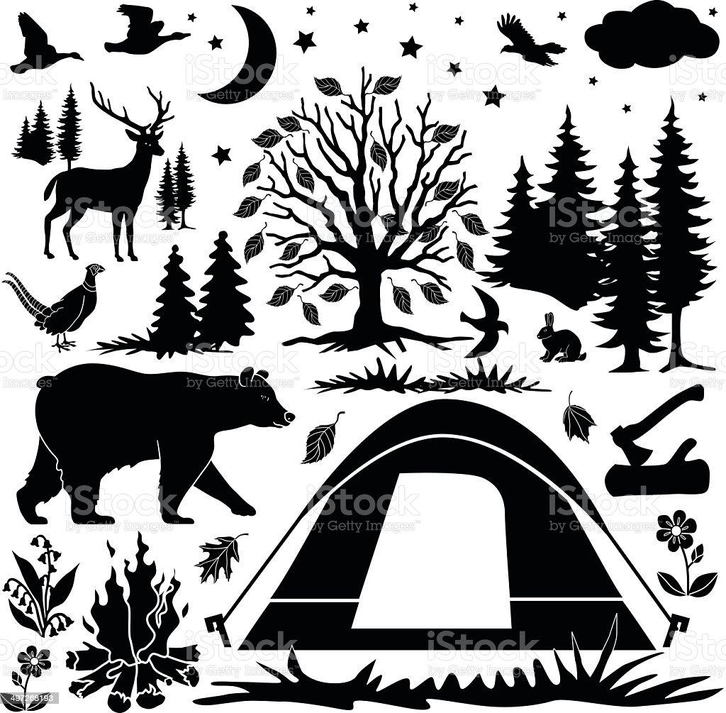 camping design elements vector art illustration