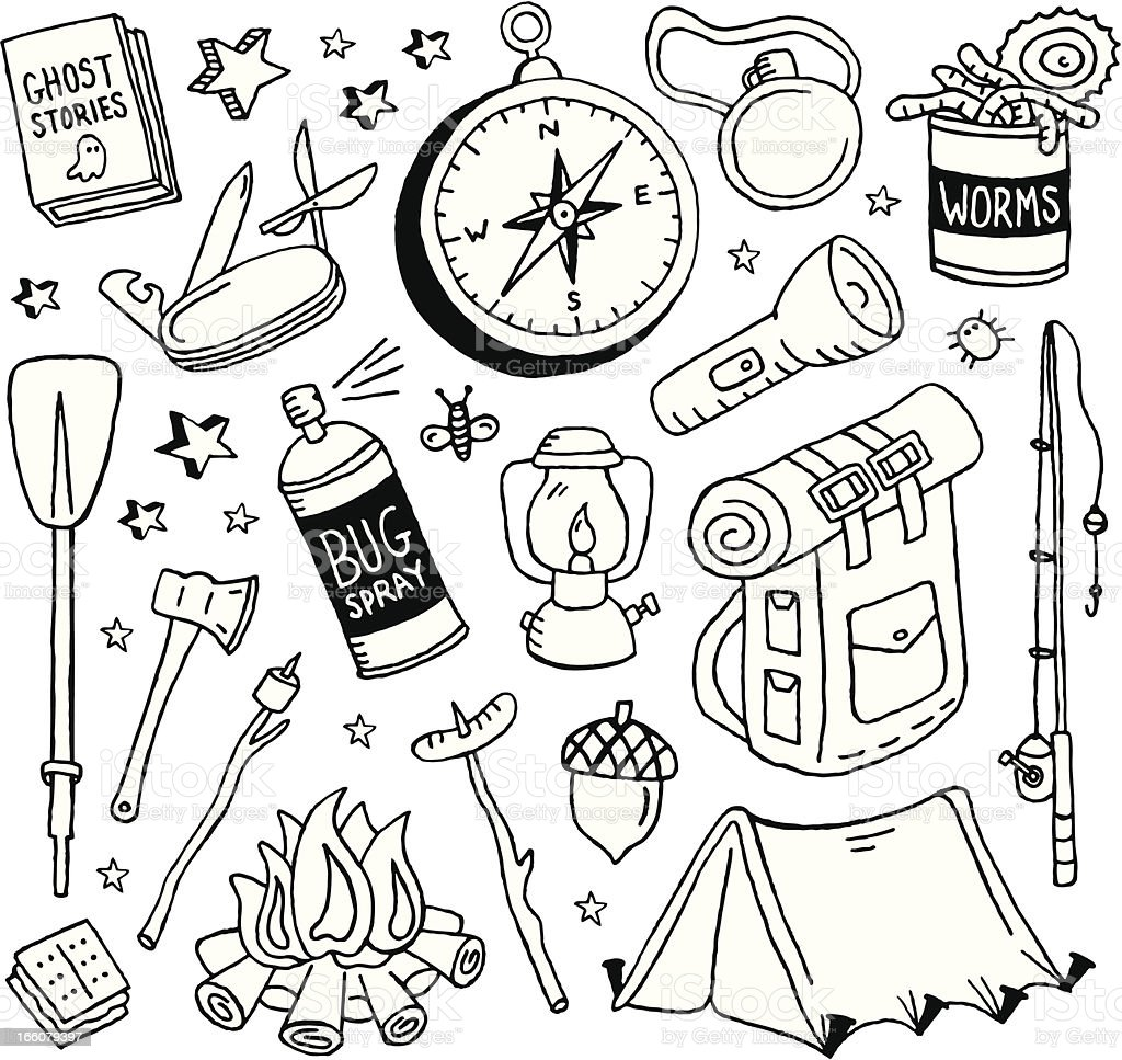 Camping Doodles vector art illustration