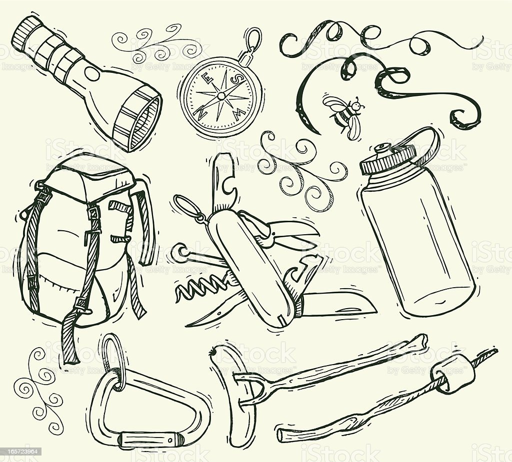 Camping Doodles with Backpack and Compass vector art illustration