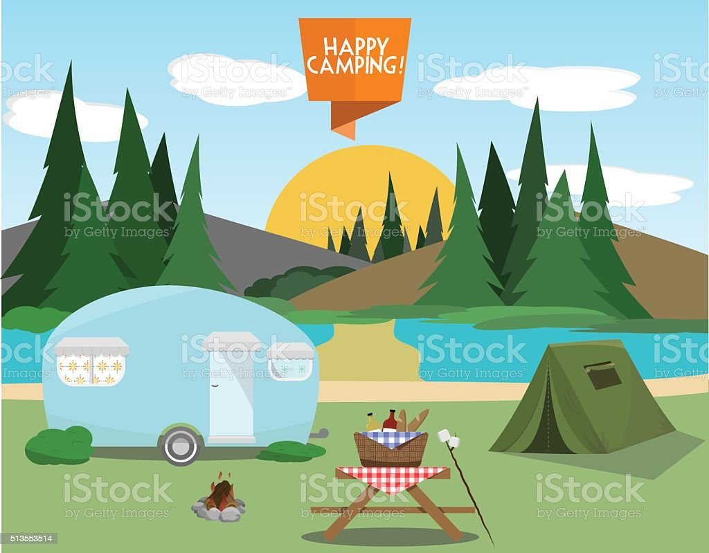 Camping Elements Set vector art illustration