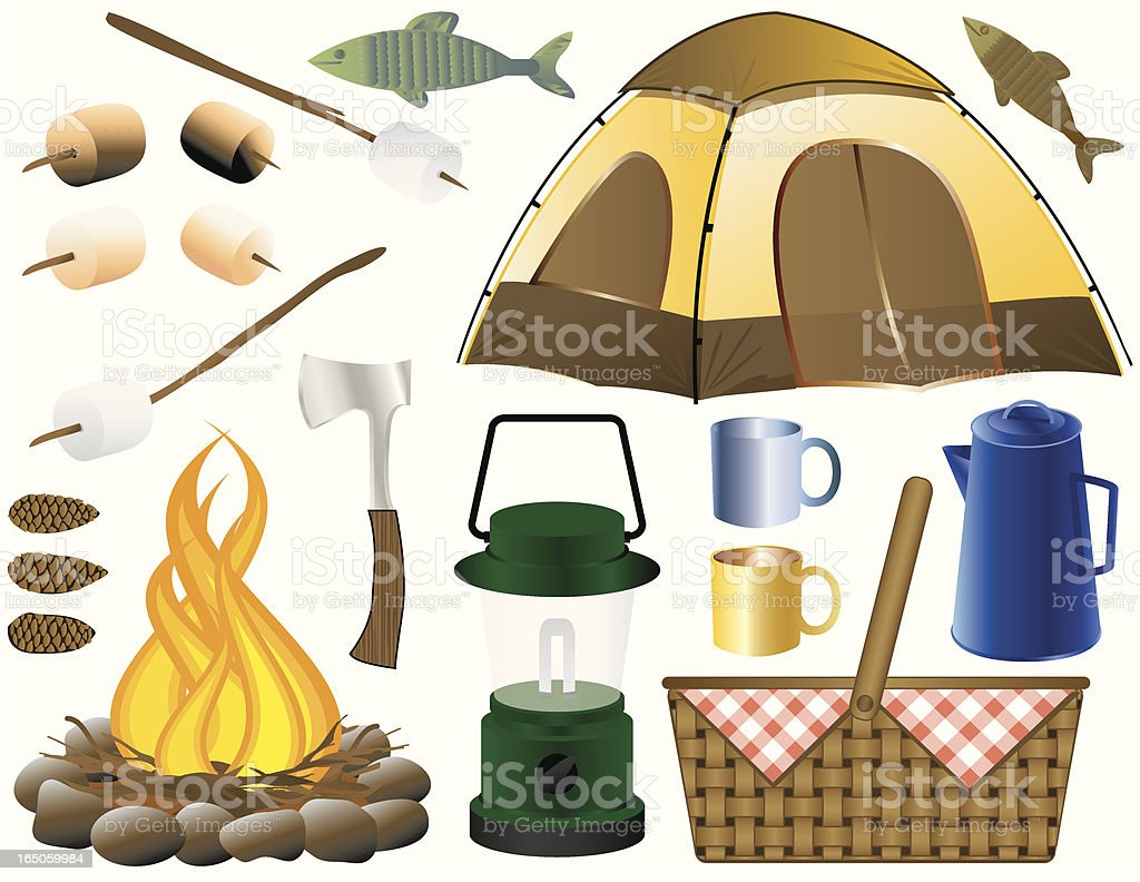 Camping Elements vector art illustration