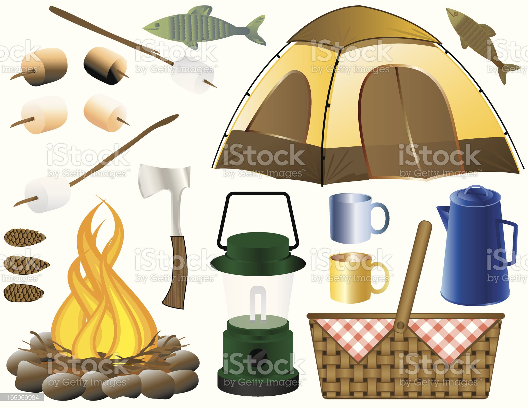 Camping Elements royalty-free stock vector art