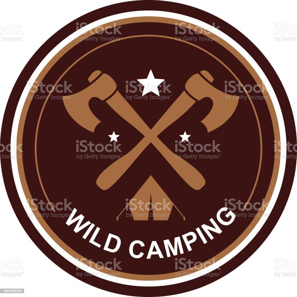 camping emblem vector art illustration