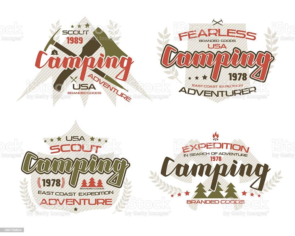 Camping emblems  for t-shirt vector art illustration