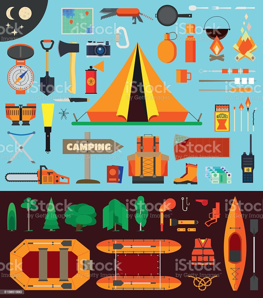 Camping equipment and tools vector art illustration