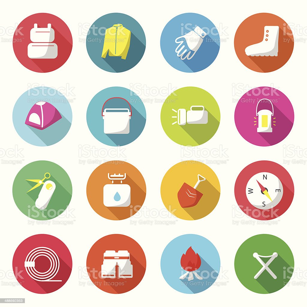 Camping Equipment Colorful Icons vector. vector art illustration