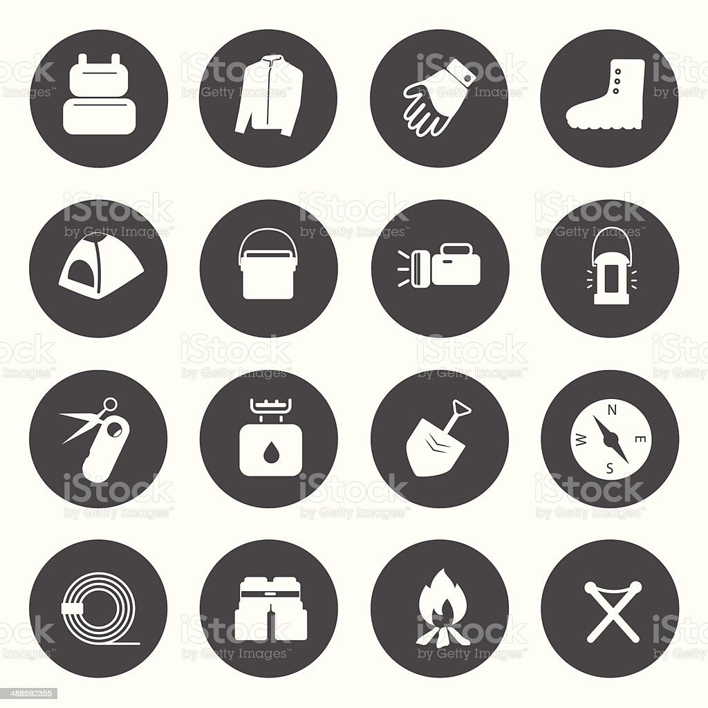 Camping Equipment Icons vector. vector art illustration