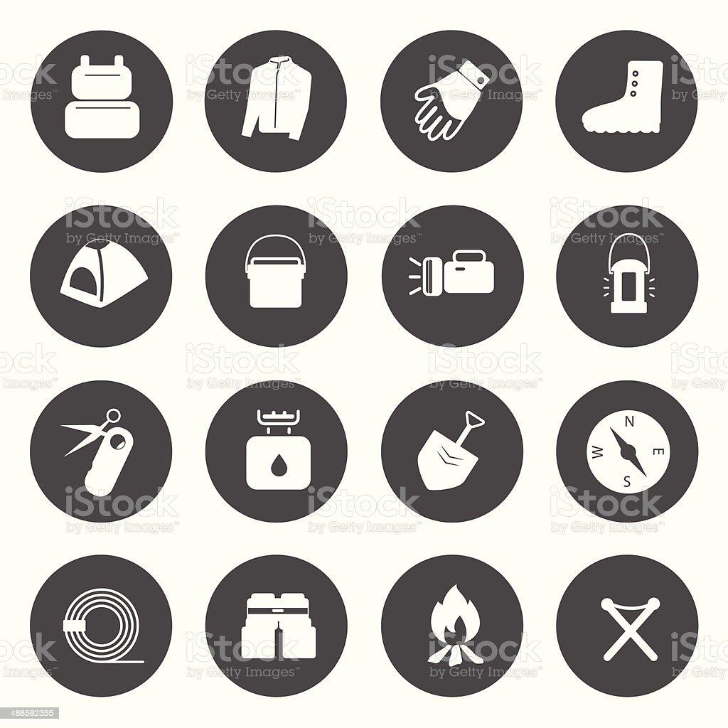 Camping Equipment Icons vector. vector art illustration
