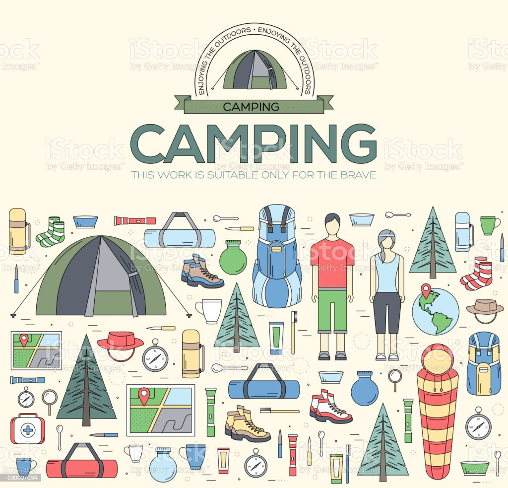 Camping equipment set circle infographics template concept vector art illustration