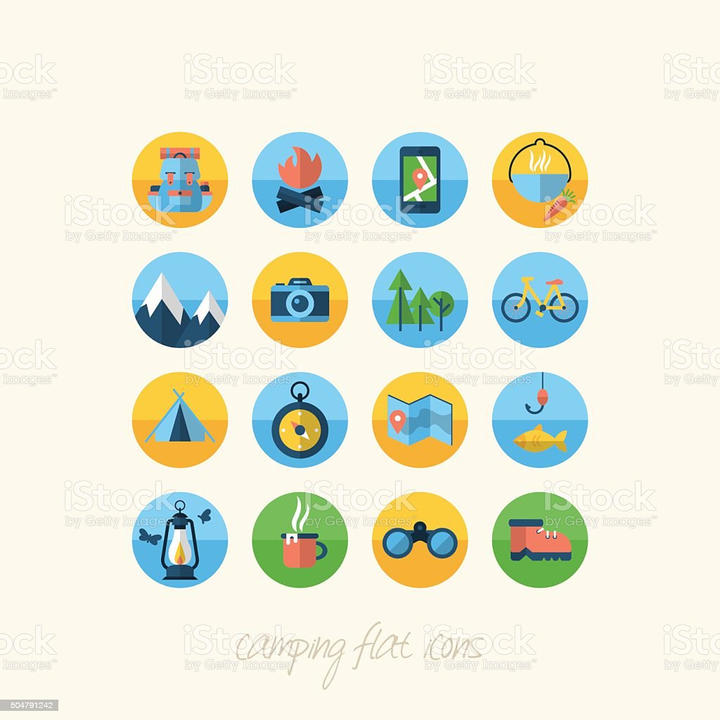 Camping flat icons set for design vector art illustration