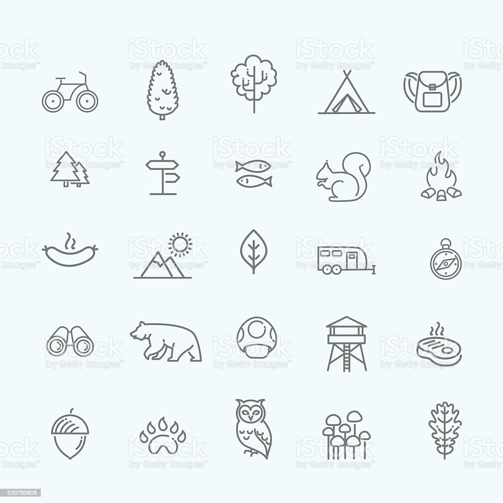 Camping, Forest, Nature & Outdoor Activities icons vector art illustration