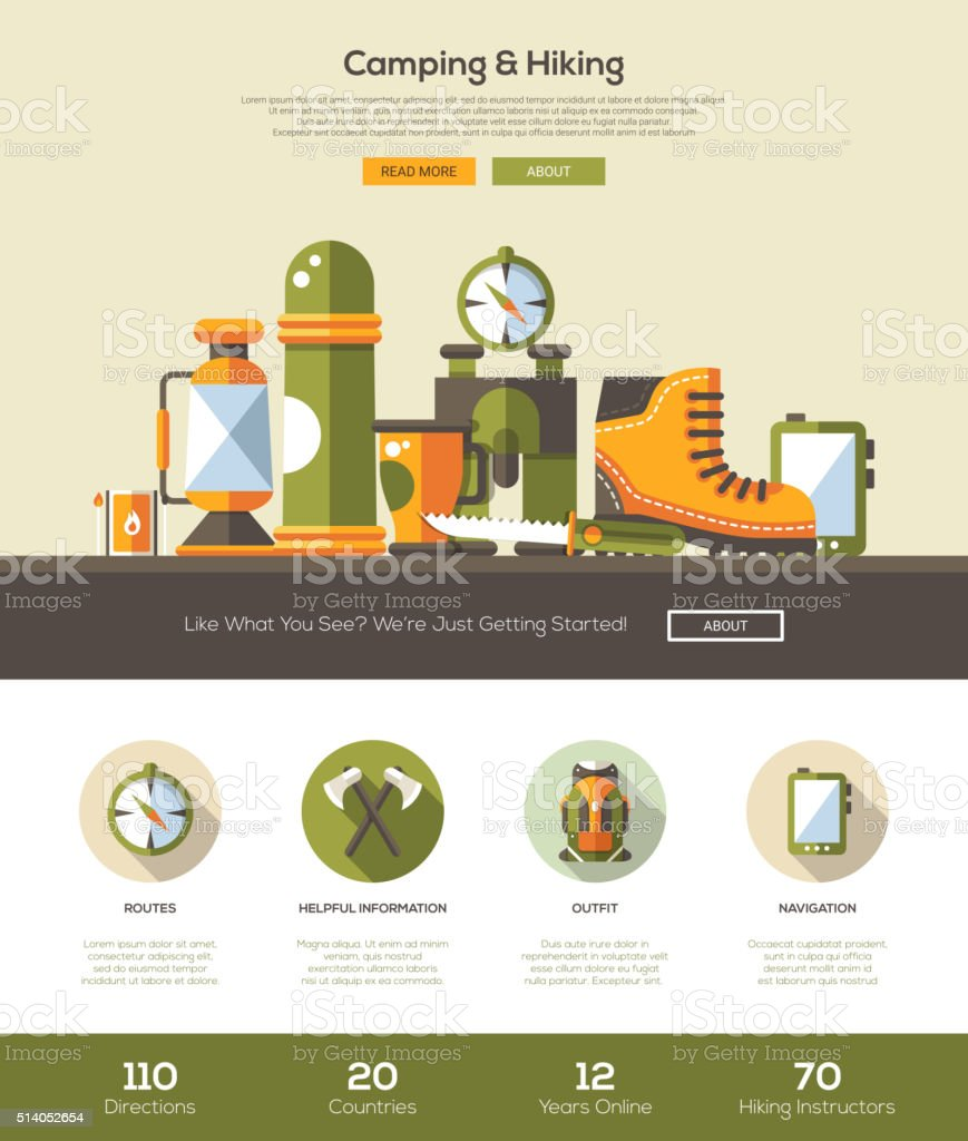 Camping, hiking website template with header and icons vector art illustration