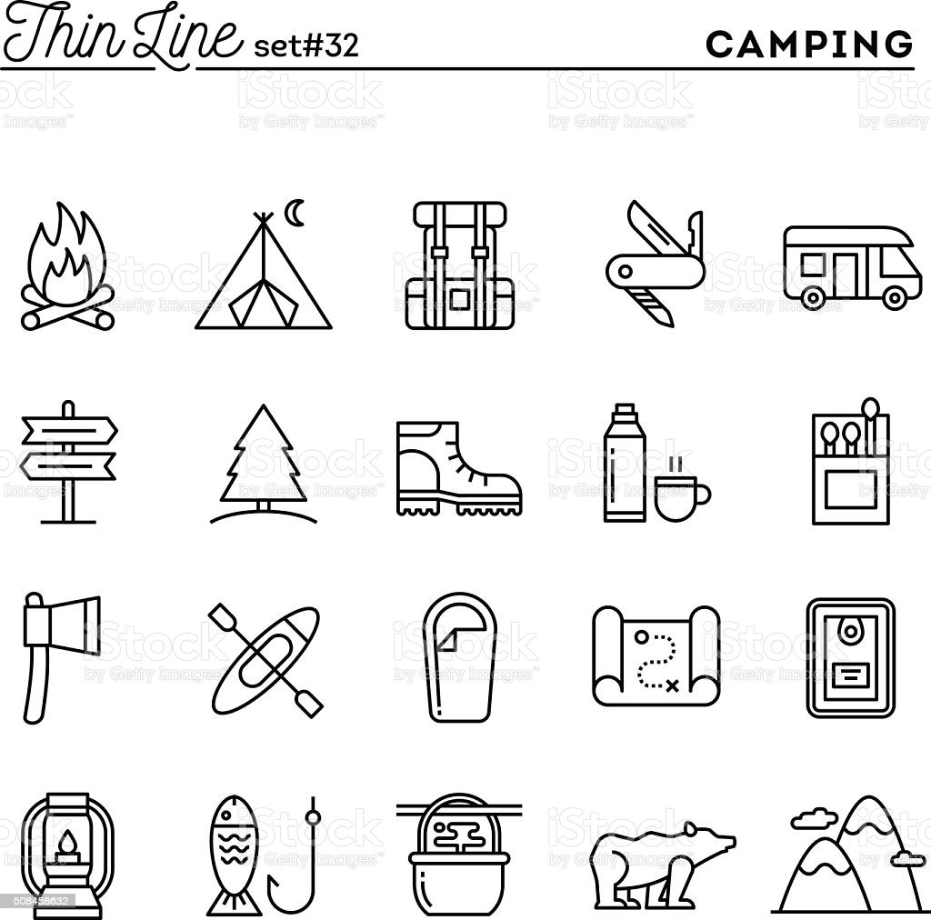 Camping, hiking, wilderness, adventure and more, thin line icons vector art illustration