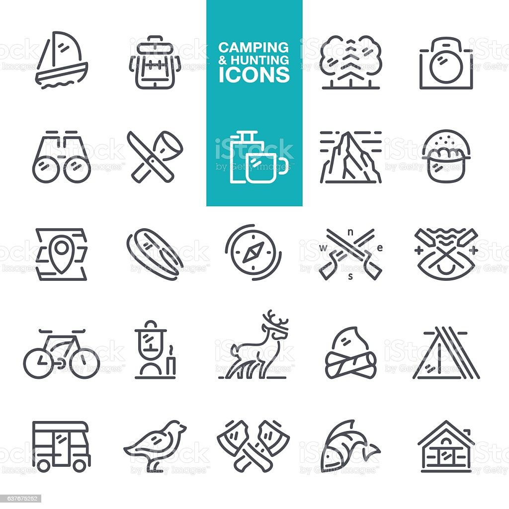 Camping & Hunting icons vector art illustration