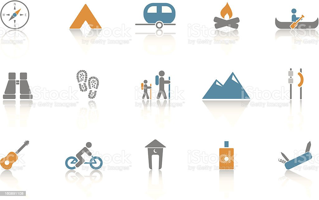 Camping Icon Set - Blue royalty-free stock vector art