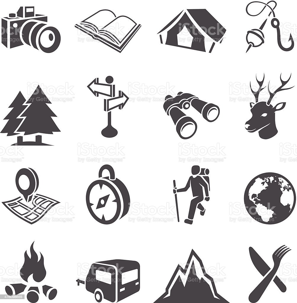 Camping Icon Set vector art illustration
