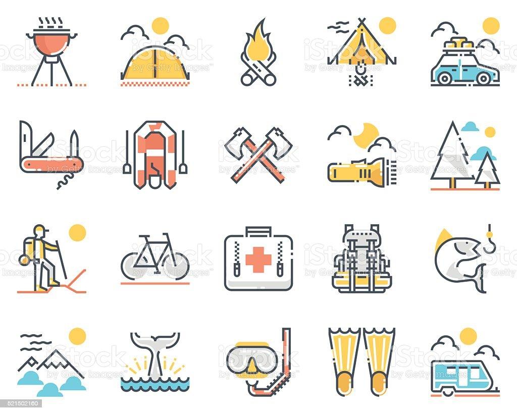 Camping icon set vector art illustration