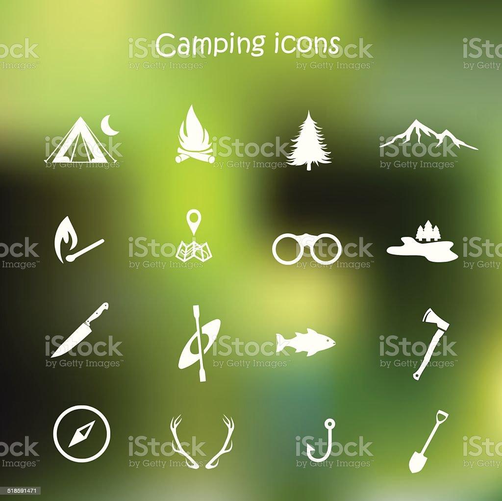 Camping icon set vector vector art illustration