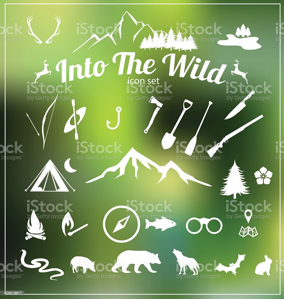 Camping icon set vector vector art illustration